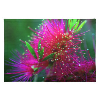 Colorful Nature Floral Hot Pink Neon Green Flowers Placemat