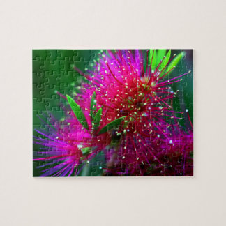 Colorful Nature Floral Hot Pink Neon Green Flowers Puzzle