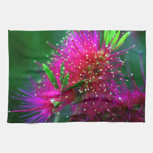 Colorful Nature Floral Hot Pink Neon Green Flowers Kitchen Towels