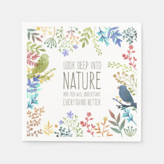 Colorful Nature Inspired Quote   Napkin Paper Napkin