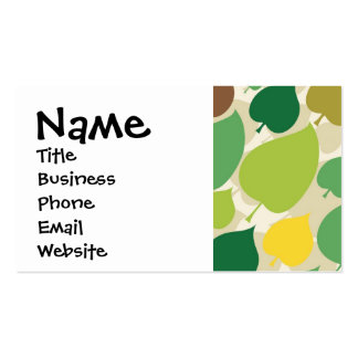 Colorful Nature Pattern Green Yellow Leaves Business Card Templates