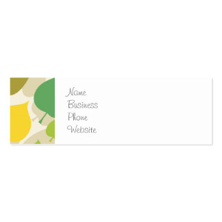 Colorful Nature Pattern Green Yellow Leaves Business Card Template