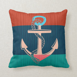 Colorful Nautical Anchor Pillow