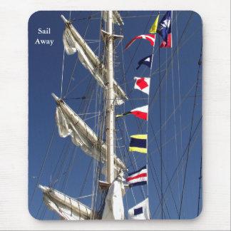 Colorful Nautical Flags on a Tall Ship Mousepad
