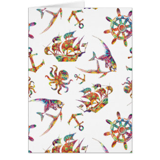 Colorful nautical pattern custom background card