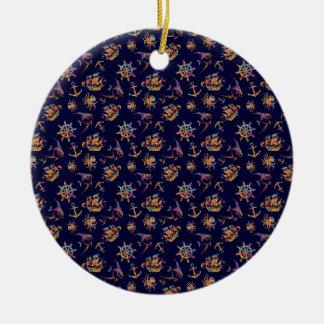 Colorful nautical pattern custom background ceramic ornament