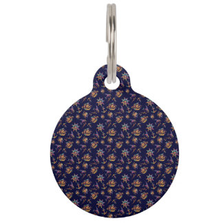 Colorful nautical pattern custom background pet tag