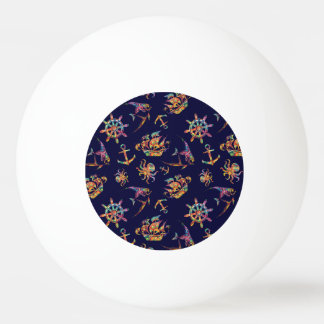 Colorful nautical pattern custom background ping pong ball