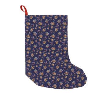 Colorful nautical pattern custom background small christmas stocking