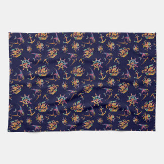 Colorful nautical pattern custom background tea towel