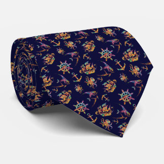 Colorful nautical pattern custom background tie