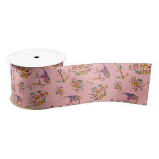 Colorful nautical patterns on coral pink backgroun satin ribbon