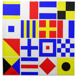 Colorful Nautical Signal Flags Pattern Napkin