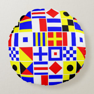 Colorful Nautical Signal Flags Pattern Round Pillow