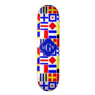 Colorful Nautical Signal Flags Royal 3I Monogram Skate Deck