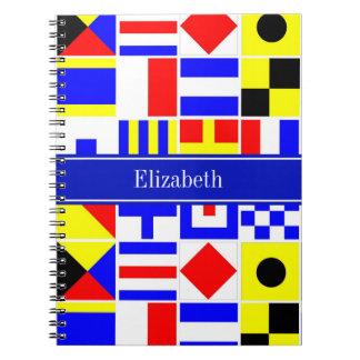 Colorful Nautical Signal Flags Royal Name Monogram Notebooks