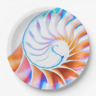 Colorful Nautilus Paper Plate