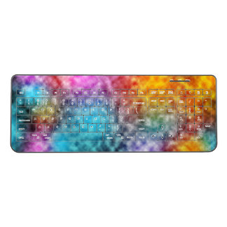 Colorful nebula clouds wireless keyboard