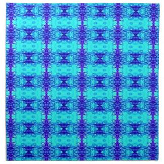 Colorful Neon Blue Royal Blue Tribal Pattern Napkin
