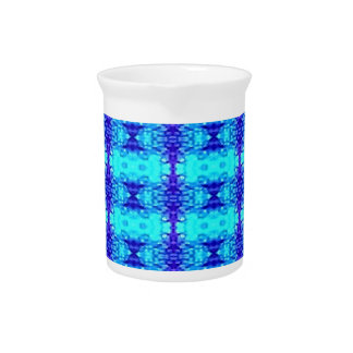 Colorful Neon Blue Royal Blue Tribal Pattern Pitcher