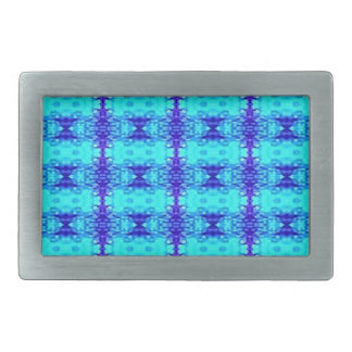 Colorful Neon Blue Royal Blue Tribal Pattern Rectangular Belt Buckle
