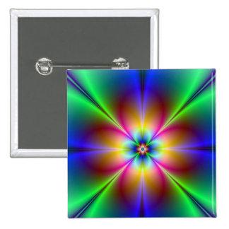 Colorful Neon Daisy 15 Cm Square Badge