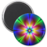 Colorful Neon Daisy 6 Cm Round Magnet