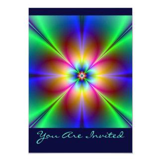 Colorful Neon Daisy Personalized Invitations