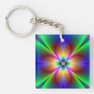 Colorful Neon Daisy Key Ring