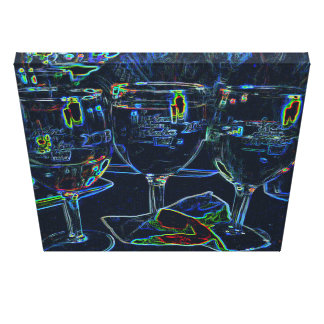 Colorful Neon Etched Effect Wine Glasses Canvas Print
