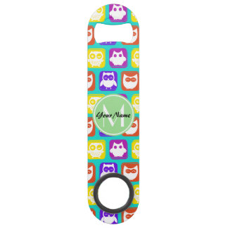 Colorful Neon Owl Custom Monogram, Personalized