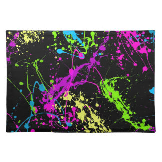 Colorful Neon Paint Splatters on Black Placemat