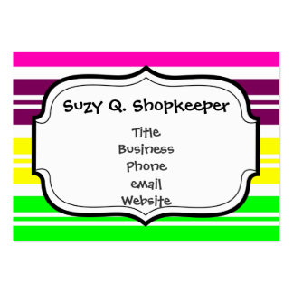 Colorful Neon Rainbow Stripes Vibrant Bold Pattern Business Card Template