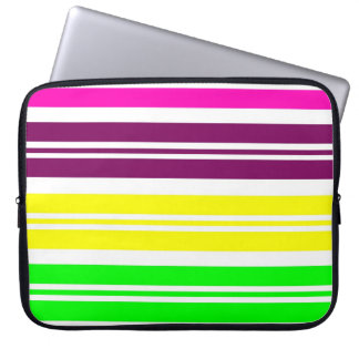 Colorful Neon Rainbow Stripes Vibrant Bold Pattern Laptop Sleeve