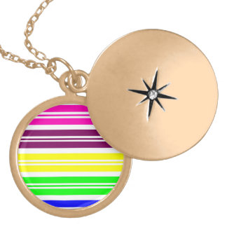 Colorful Neon Rainbow Stripes Vibrant Bold Pattern Lockets