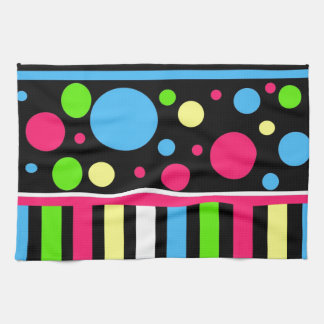 Colorful Neon Stripes Polka Dots Pink Blue Green Tea Towel