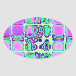 Colorful Neon Tiles Oval Stickers