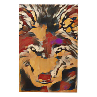 Colorful Neural Wolf Abstract Art Wood Canvas