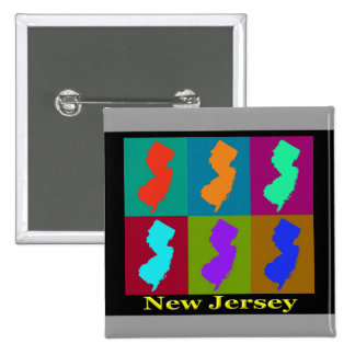 Colorful New Jersey State Pop Art Map Button