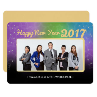 Colorful New Years Photo Business Greeting Card