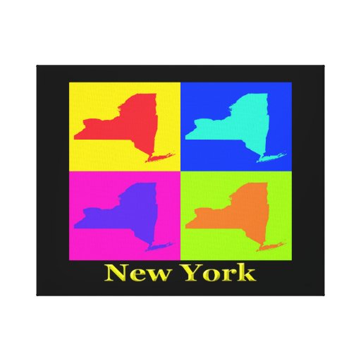 Colorful New York State Pop Art Map Canvas Prints
