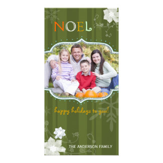 Colorful NOEL Happy Merry Holiday Photo Photo Greeting Card