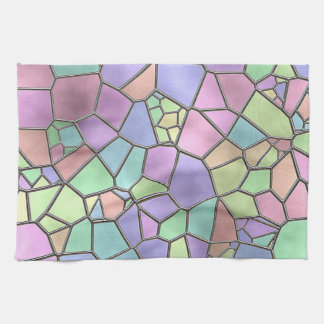 Colorful Nouveau Deco Stained Glass Pattern Tea Towel