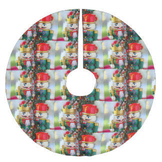 Colorful nutcrackers brushed polyester tree skirt