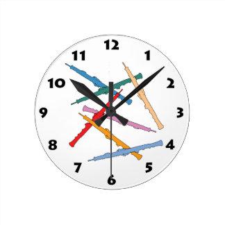 Colorful Oboe Round Clock