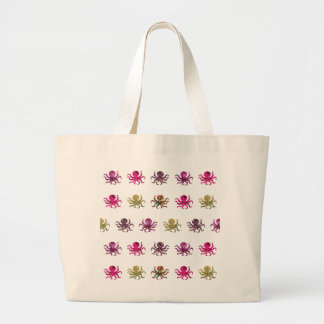 Colorful octopus pattern large tote bag