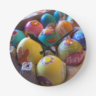 Colorful Old Fashioned Easter Egg Decorating Fun Round Wall Clock