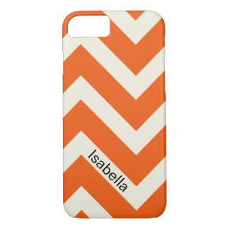 Colorful Orange Chevron Pattern with Monogram iPhone 7 Case