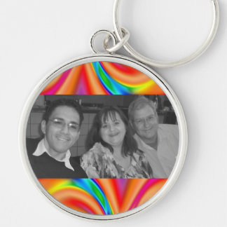 Colorful orange pink photo frame Silver-Colored round key ring