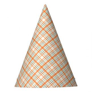 Colorful Orange Plaid Party Hat